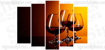 "Wine glasses Acrylic  28.5""x42"".  5 panels"